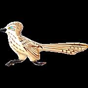 SALE Carved Wooden Road Runner Bird Brooch