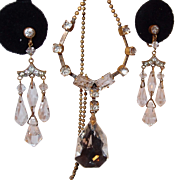 SALE Art Deco Crystal and Paste Dangle Earring and Necklace Set