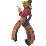SALE Large Wooden Cowboy with Smoke Brooch Hand Carved and Painted - Book Piece