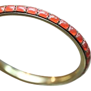 SALE Gold-filled Art Deco Bangle with Carnelian Glass Prong Insets