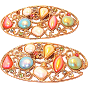 SALE Scarce Musi Multi-color Pearled Cabochon Shoe Clips