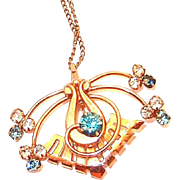 SALE In Our BLOWOUT SALE: Gold Filled Retro Spider Pendant with Turquoise Rhinestones