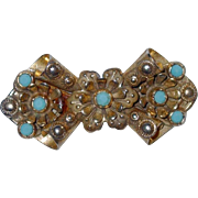 SALE End of Year SALE: Sterling Etruscan Detailed Pin with Turquoise Cabochons