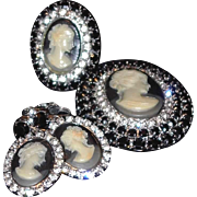 SALE Three Piece Cameo Set: Ring, Brooch and Earrings