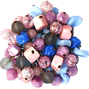 REDUCED Layered Beaded Brooch made of Unusual Shaped Glass that Dangles