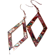 SALE Mexican Alpaca and Abalone Hook Drop Earrings