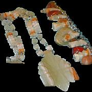 SALE Vintage Mexican Mayan Carved Stone Quartz Necklace and Bracelet Set