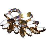 REDUCED Unusual Brooch of Facet Gold-tone Glass Paired with Milk Glass and Aurora Borealis