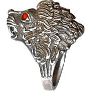 SALE Large Sterling Lion Ring with Head Raised High