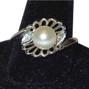 SALE Clearance Sale: High End Vintage Diamond and Pearl 14k Gold Ring