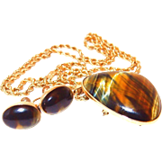 SALE 10k Gold Pendant/Pin and Rope Chain with Earrings made with Gorgeous Tiger Eye Set