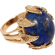 REDUCED Natural Lapis Lazuli 14kt Yellow Gold Ring with Gold Nugget Leaf Motif Prongs