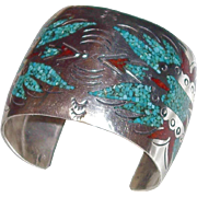 REDUCED American Indian Zuni Wide Thunder Bird Sterling Cuff with Turquoise and Red Coral