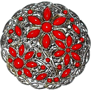REDUCED Large Brooch with Red Plastic Cabochons in Floral Pattern