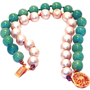 REDUCED Green Peking and Pearl Glass Bracelet with Sterling Clasp