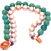 SALE Green Peking and Pearl Glass Bracelet with Sterling Clasp, Now on BLOWOUT SALE