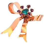 REDUCED Sterling Retro Bow Brooch with Crystal by GLAMOUR
