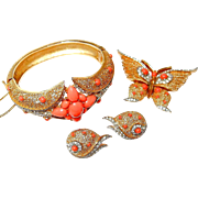 SALE Coral, Rhinestone Trifari Set with Bracelet, Butterfly Pin and Earrings