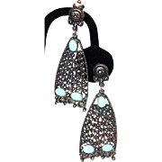 SALE BLOWOUT SALE: Large Dangle Silver-tone Earrings with Turquoise Cabochons
