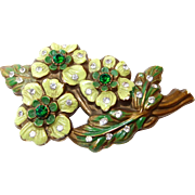 SALE Early Plastic Painted Flower Brooch with Rhinestones