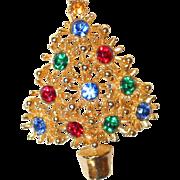 SALE Year End SALE: Rhinestone Spiked Christmas Tree Pin