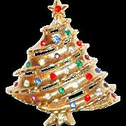 REDUCED Multicolored Rhinestone Xmas Tree Pin