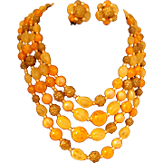 REDUCED Four Strand Orange Bead Necklace and Earring Set