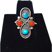 SALE Old Pawn Turquoise and Coral Sterling Ring