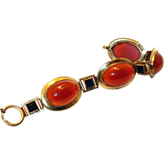 SALE Carnelian and Jet Glass Art Deco Rolled Gold Bracelet