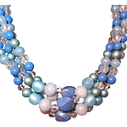 SALE Multi-strand Early Plastic Blue Beaded Necklace