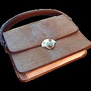 SALE Unusual Leather Deer Skin Handbag