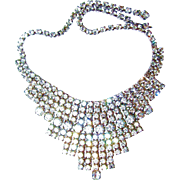 SALE Huge Rhinestone Bridal or Prom Bib Necklace with 12 Rows of Stones