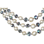 REDUCED Classic Laguna Crystal and Faux Pearl Earring and Necklace Set