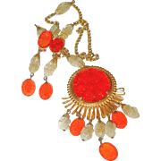 REDUCED Schreiner Orange Medallion Necklace/Brooch Combo and Earring Set