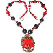 REDUCED Art Deco Filigree Red and Black Glass Necklace
