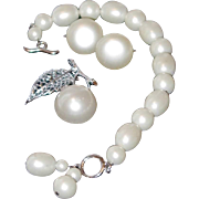 SALE Marvella Simulated Fresh Water Pearl Toggle Bracelet, Pin and Earring Set