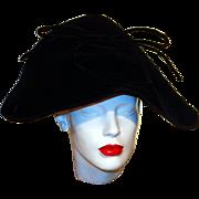 SALE Black Velvet Wide Brim 'My Fair Lady' Style Vintage Hat