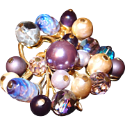 SALE Beaded Spiked Coro Brooch in Lavender Hues of Crystals, Art Glass and Baroque Pearls