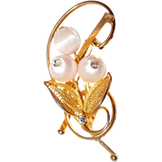 REDUCED Pale Pink Silk Bead Floral Pin