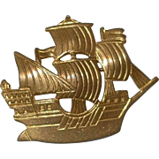 REDUCED Brass Ship Figural Pin
