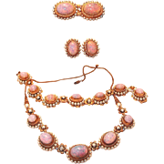 REDUCED SALE: Opal and Glass Pearl Four Piece Parure Suite Includes Necklace, Bracelet, Pin an
