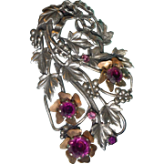 REDUCED Large Bow and Grape Motif Dress Clip with Paste Stone Flower Centers