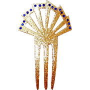 SALE Dazzling Glitter Hair Backcomb with Blue Art Deco Rhinestones