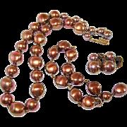 SALE Rainbow Finish Copper Brown Beaded Necklace Earrings Bracelet Set