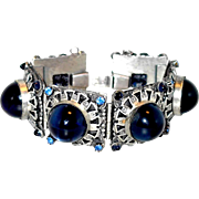 SALE Fabulous Schiaparelli Bracelet in Silver-tone with Deep Blue Glass: Use our Lay-a ...