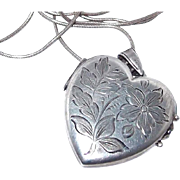 REDUCED Double Sided Etched Large Heart Locket in Sterling Silver