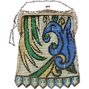 SALE Dresden Enameled Whiting and Davis Mesh Bag with Art Deco Egyptian Revival Design, Made .