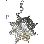 SALE Egyptian Motif Pendant Necklace with Pharaoh, Snake and Pyramid