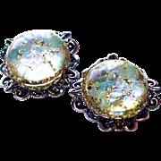 SALE Half Round Dome Lucite Confetti Clip Earrings on SALE