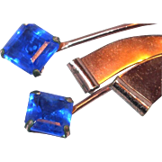 SALE Striking Cobalt Blue Crystal Retro Spray Brooch Included in Our End of Year SALE